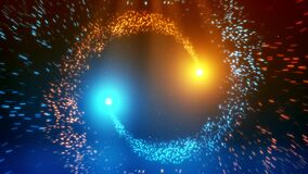 Blue Orange Particles Spiral Circles with Trail Intro Logo Background