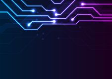 Glowing blue purple neon circuit board chip background. Glowing blue purple neon circuit board chip abstract background. Technology vector design vector illustration