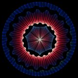 Glowing blue and red abstract mandala star shape. Isolated on black background Stock Photography