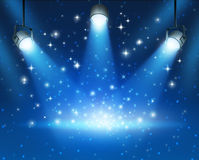 Glowing Blue Spotlights Background Royalty Free Stock Images