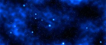 Glowing blue star and galaxy, space background royalty free stock photos