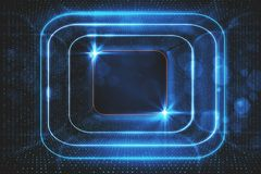 Glowing blue tunnel background. Digital glowing blue tunnel background. Cyberspace concept. 3D Rendering Stock Images