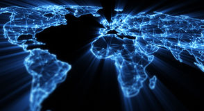 Glowing blue world map shallow DOF. Glowing blue world map illustration with shallow DOF Royalty Free Stock Images
