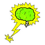 Glowing brain cartoon Stock Image