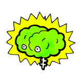 Glowing brain cartoon Royalty Free Stock Image