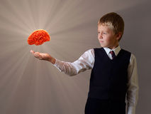 Glowing brain of the child hand. Glowing brain of the schoolboy hand