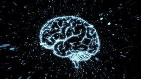 Glowing brain illustration being fromed from particle explosion with motion blur Stock Illustration