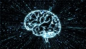 Glowing brain illustration being fromed from particle explosion with motion blur Vector Illustration