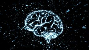Glowing brain illustration in particle explosion with motion blur stock video