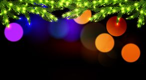 Glowing branches of a Christmas tree on a dark background bokeh. Vector art illustration Royalty Free Stock Photography