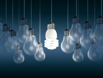 Glowing bright light bulb among others Royalty Free Stock Image
