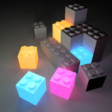 Glowing Building Blocks Stock Photo