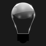 Glowing Bulb on Black Background, Vector Illustration. Royalty Free Stock Photography