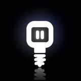 Glowing bulb icon. Light bulb icon with pause sign on black background Royalty Free Stock Images