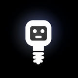 Glowing bulb icon. Light bulb icon with smile on black background Royalty Free Stock Image
