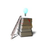 Glowing bulb on top of stack books with ladder, white background Stock Images