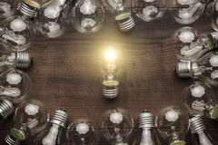 Free Glowing Bulb Uniqueness Concept Royalty Free Stock Photo - 51722685