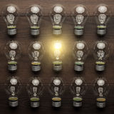 Glowing bulb uniqueness concept Royalty Free Stock Image