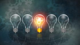 Glowing bulb uniqueness concept. On gear background royalty free illustration
