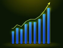 Glowing Business Graph. 3d Business Graph on dark background Royalty Free Stock Image