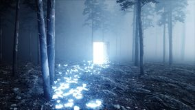 Glowing butterflies in fog night forest. Light portal door. Mistic and magic concept.3d render. Glowing butterflies in fog night forest. Light portal door Stock Image