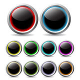 Glowing buttons. Glowing button set of 10 with different colors Royalty Free Illustration