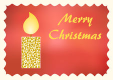 Glowing candle with Christmas symbols on red. Glowing candle with Christmas symbols on a red background with Merry Christmas lettering on the right side and Stock Photography