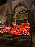 Glowing candles in cathedral Royalty Free Stock Photography