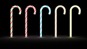 Glowing candy cane row Royalty Free Stock Photos