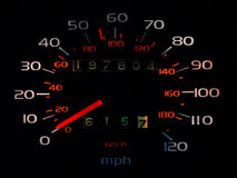 Glowing car spedometer in darkness. Glowing car spedometer with white miles per hour and orange kilometers per hour markings, against a black background, showing Stock Photos