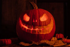 Glowing Carved Pumpkin or Jack-O-Lantern Stock Photo