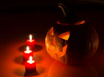 Glowing Carved Pumpkin Royalty Free Stock Image