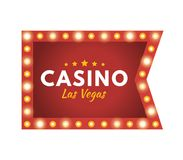 Casino Las Vegas. Jackpot, lucky, success, financial growth, money profit. Glowing casino sign Las Vegas. Jackpot, lucky, success, financial growth, money Royalty Free Stock Photo