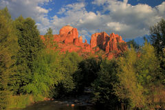 Glowing Cathedral Rock Royalty Free Stock Photography