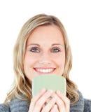 Glowing caucasian woman enjoying her coffee Royalty Free Stock Image