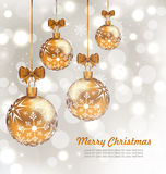 Glowing Celebration Card with set Christmas balls Royalty Free Stock Photos