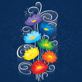 Glowing Chakras lotuses. This image is a easy to edit vector illustration. Image contains gradients, transparencies, blending modes. EPS 10 Stock Photos