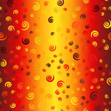 Glowing chaotic spiral pattern. Seamless vector vortex backgroun. D - maroon, red, orange, gold, yellow spirals on gradient backdrop Royalty Free Stock Photos