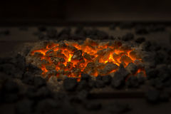 Glowing charcoal Stock Photography