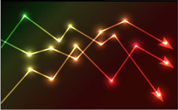 Glowing chart arrows vector illustration Royalty Free Stock Images
