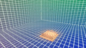 Glowing Chess board floats over grid stock video footage