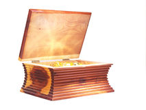 Glowing Chest. A small chest with glowing golden content stock images