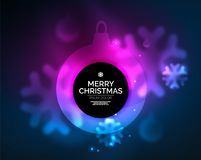Glowing Christmas ball and snowflakes vector template. Holiday winter design, blue and purple colors Stock Photos