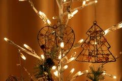 Glowing Christmas electric garland,  closeup Royalty Free Stock Photos