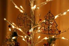 Glowing Christmas electric garland,  closeup Stock Photos