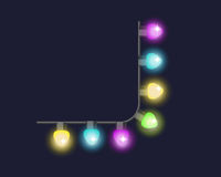 Glowing christmas garland light bulbs for xmas holiday greeting cards design and celebration party holiday decorative. Shine elements vector illustration Royalty Free Stock Image