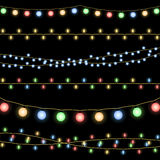 Glowing Christmas garlands vector background Stock Photo