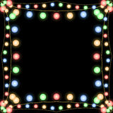 Glowing Christmas garlands vector frame black Stock Photography
