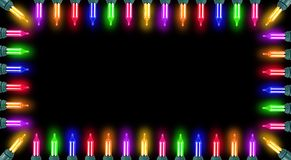 Glowing Christmas Lights Border stock photo