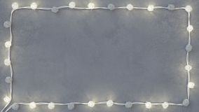 Glowing christmas lights border on white concrete 3D render. Glowing christmas lights border on white concrete. Abstract holiday background. 3D render royalty free illustration